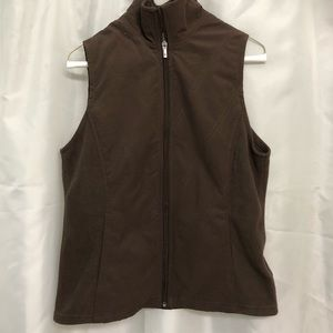 Columbia Brown fleece/poly lined vest.